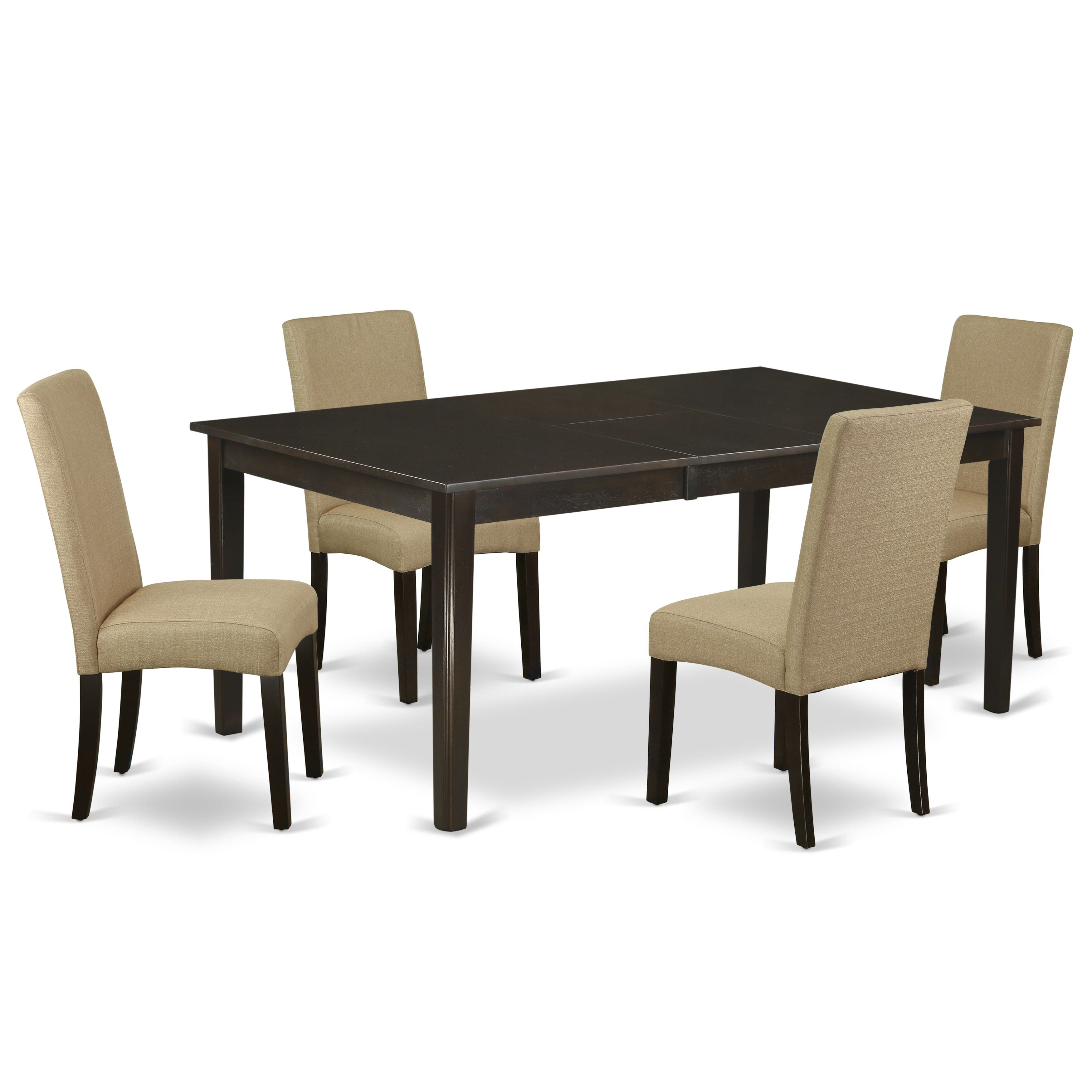Rectangle 54 72 Inch Table And Parson Chairs In Brown Linen Fabric