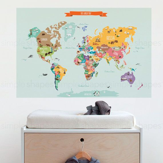 World map decal countries of the world map kids country kids room world map decal countries of the world map kids country gumiabroncs Image collections