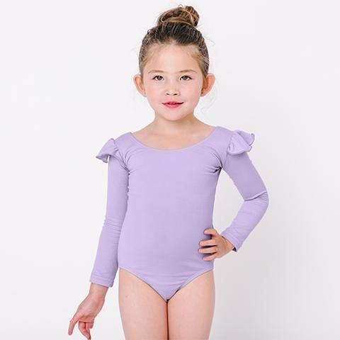 512e62f0cb90 LILAC PURPLE Long Sleeve Ruffle Leotard for Toddler   Girls ...