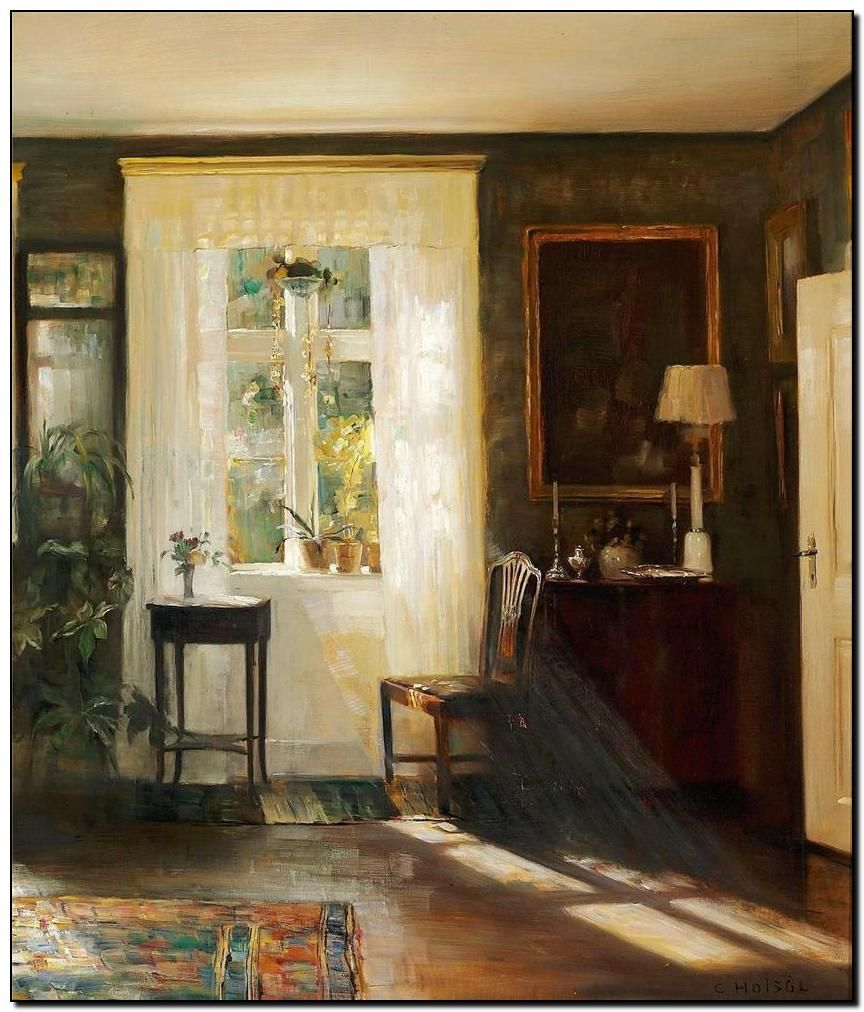 "Carl Vilhelm Holsøe, ""Interior""."