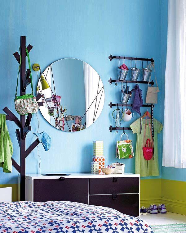 ideen jugendzimmer deko spiegel rund kleiderständer baum mini - deko ideen schlafzimmer jugendzimmer