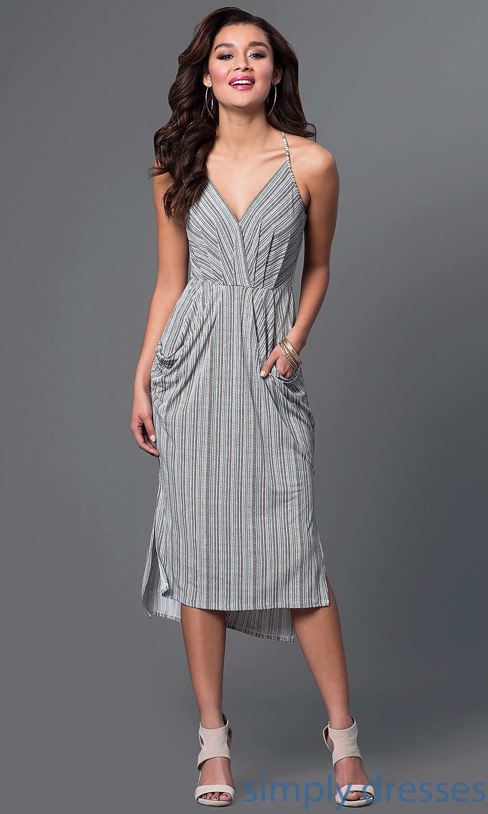 V neck knee length dress with pockets dresses pinterest