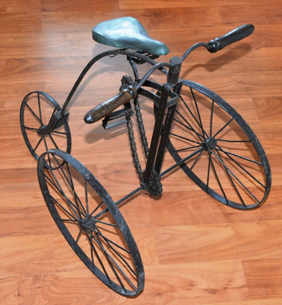 Vintage Tricycle Wheels : Antique metal high wheel tricycle with chain and wood seat