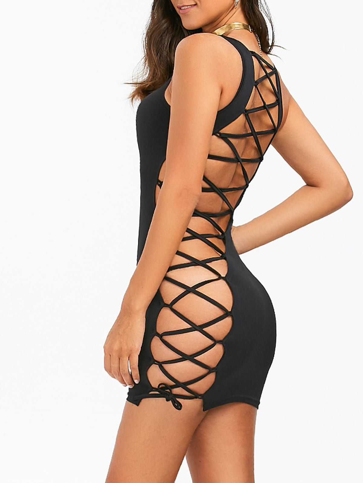 e2e5987a0d Lace-Up Open Back Sleeveless Bodycon Dress in Black