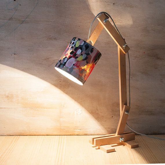 wood lamp desk lamp abstract art table lamp by VictoriAtelier