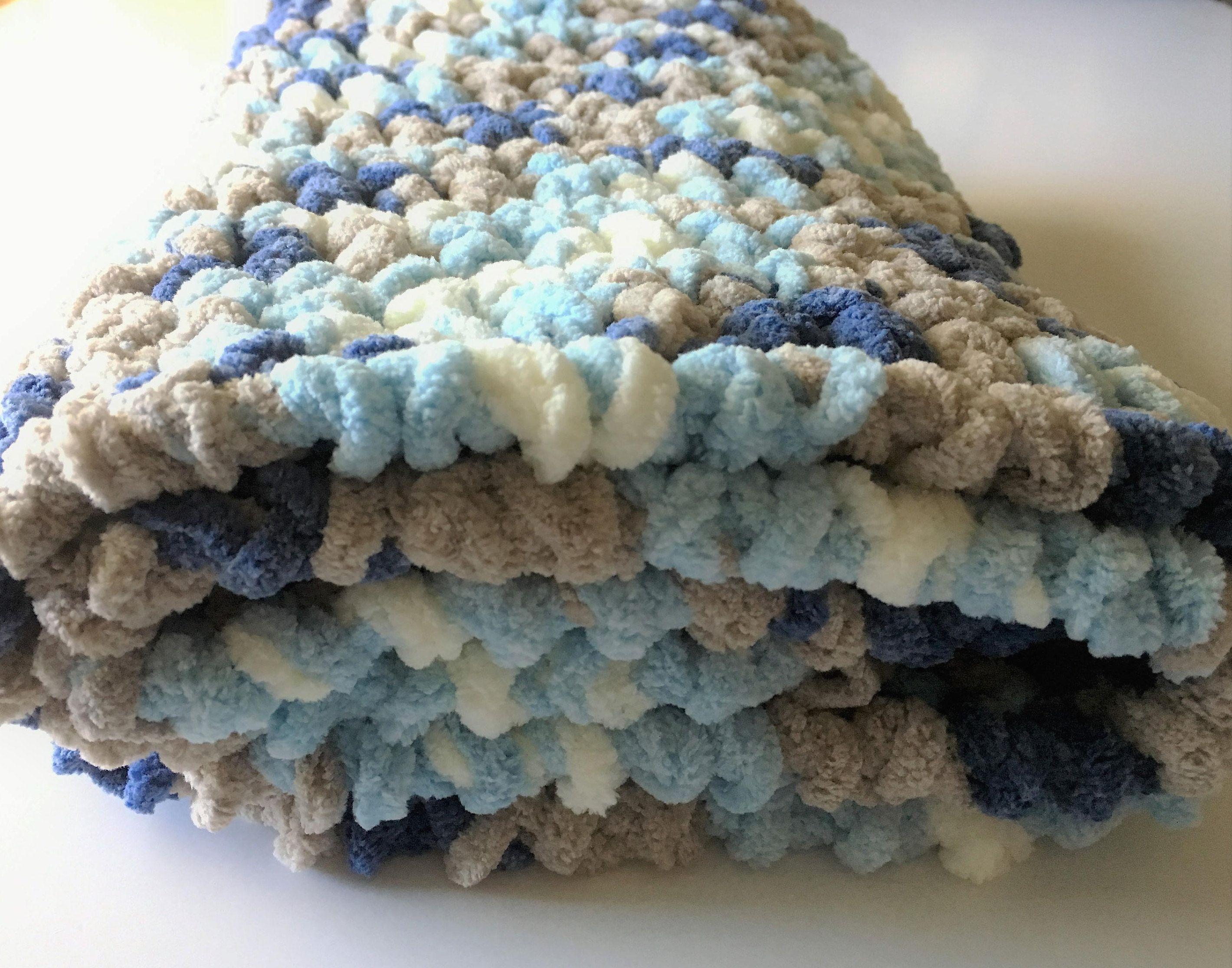 Denim Tan Baby Blanket, Crochet Baby Blanket, Photo Prop, Baby Boy ...