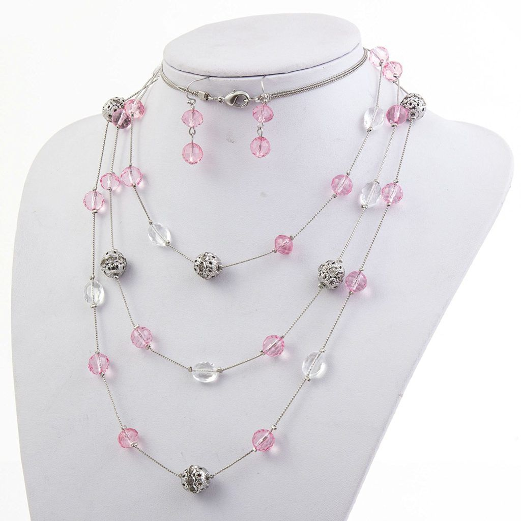 Bocar new beautiful fashion layer handmade beads necklace earring