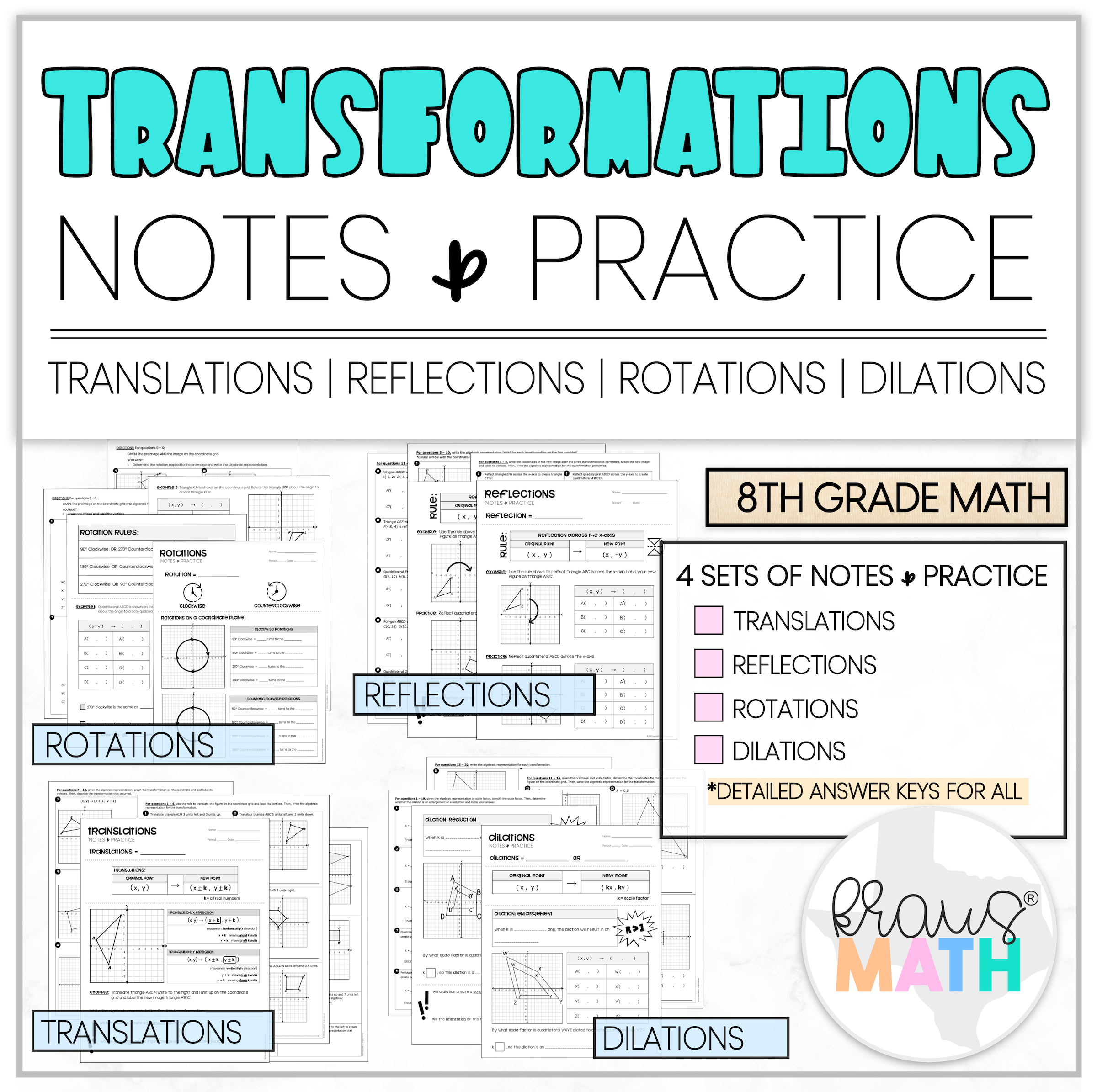 Transformations Notes Amp Practice Worksheets Bundle In