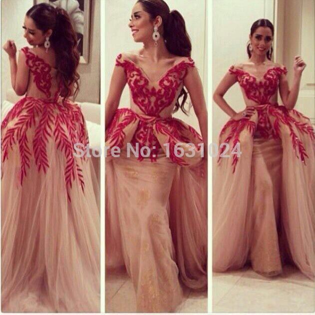 Nahen Osten heißer Verkauf Rot Abendkleider mit sexy tiefem V ...