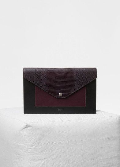 Pocket evening clutch on chain in lizard and smooth calfskin - Céline a27922c77b0d8