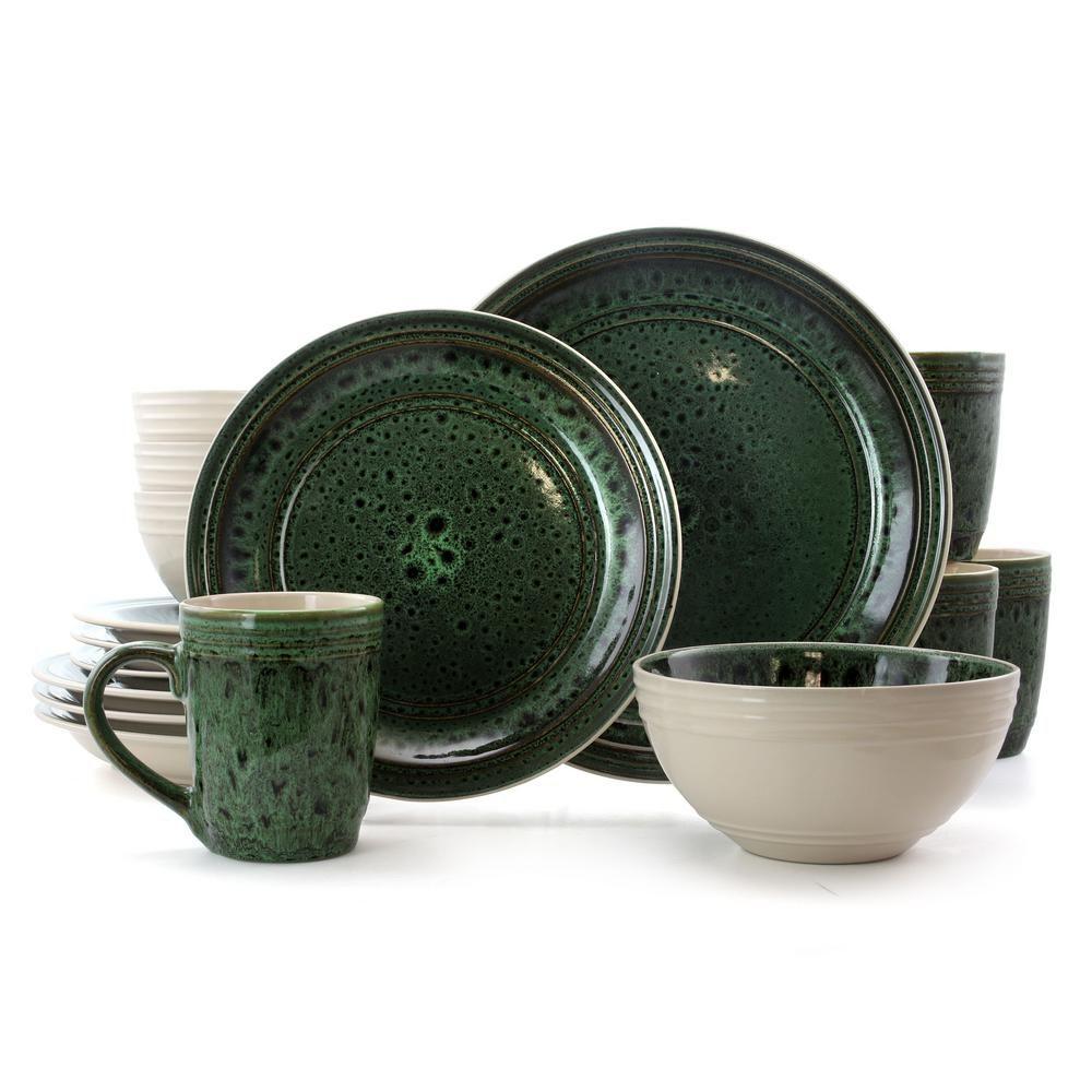 Elama Blue Jade 16 Piece Green Stoneware Dinnerware Set Service For 4 Stoneware Dinnerware Sets Stoneware Dinnerware Dinnerware