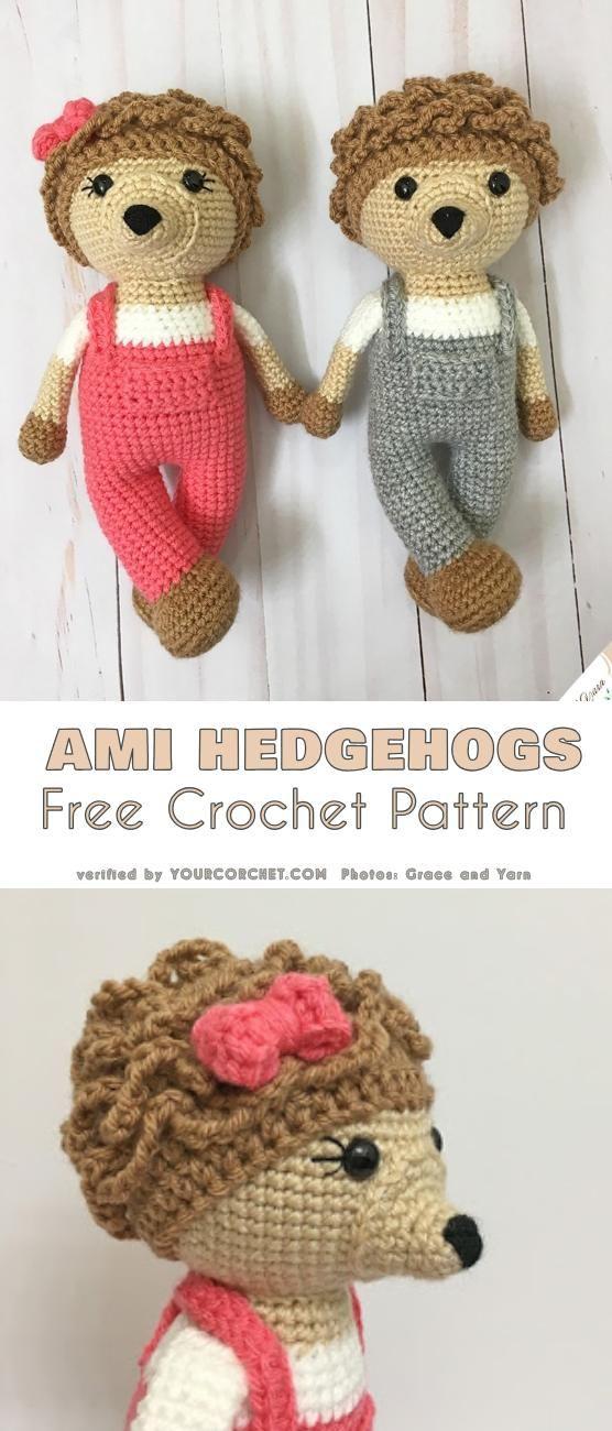 Amigurumi Hedgehogs Free Crochet Pattern | Häkeltiere, Amigurumi und ...