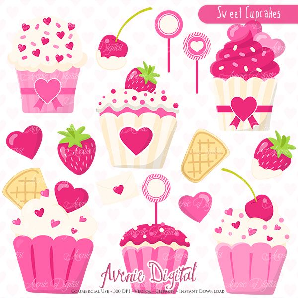 sweet valentines cupcakes clipart scrapbook printables