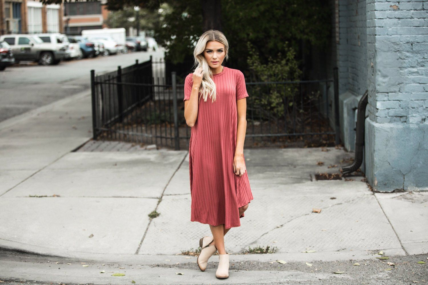 Teagan Rosebud Ribbed Tee Shirt Dress by Bella Ella Boutique