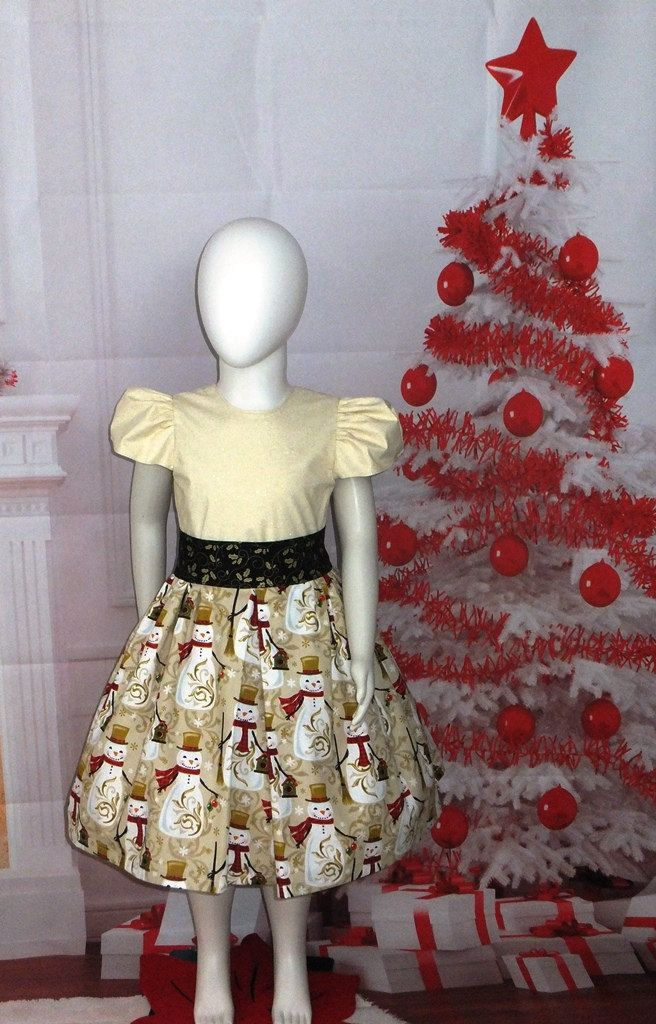 f0d65b5fe430 Cotton Boutique Dress Christmas Holiday Gold Cream Snowmen Baby 6 12 18 24  month, Toddler Girl 2T 3T 4T 5T Handmade Winter Sleeve Sash Party by ...