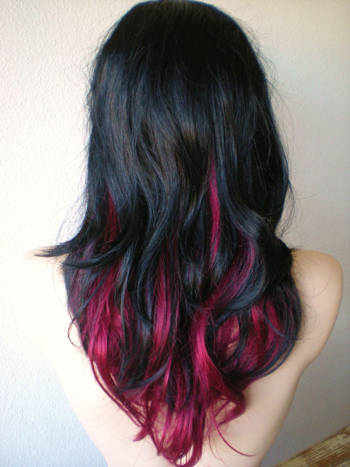 Pin By Megan Goldstein On Stuff I Want Places To Go Etc Pink And Black Hair Peekaboo Hair Red Ombre Hair