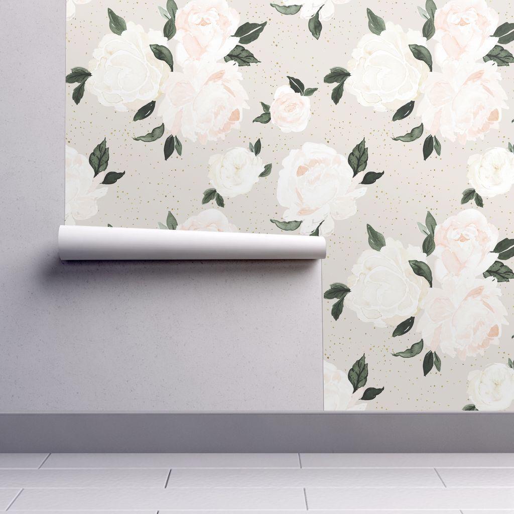 Vintage Blush Gray Floral Removable Wallpaper 2ft W X 1ft L Floral Wallpaper Wallpapers Vintage Spoonflower Wallpaper