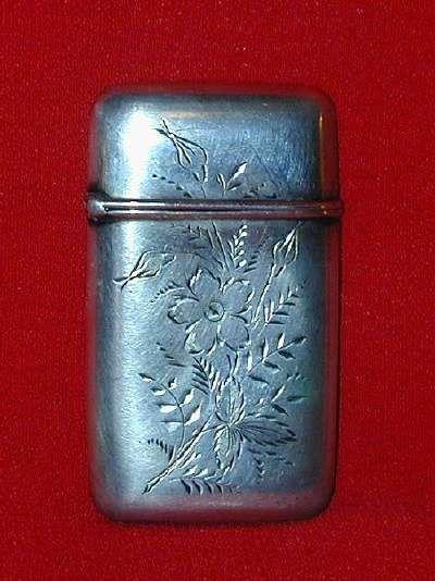 Antique Engraved Sterling Matchsafe or Vesta Floral and Foliate Design