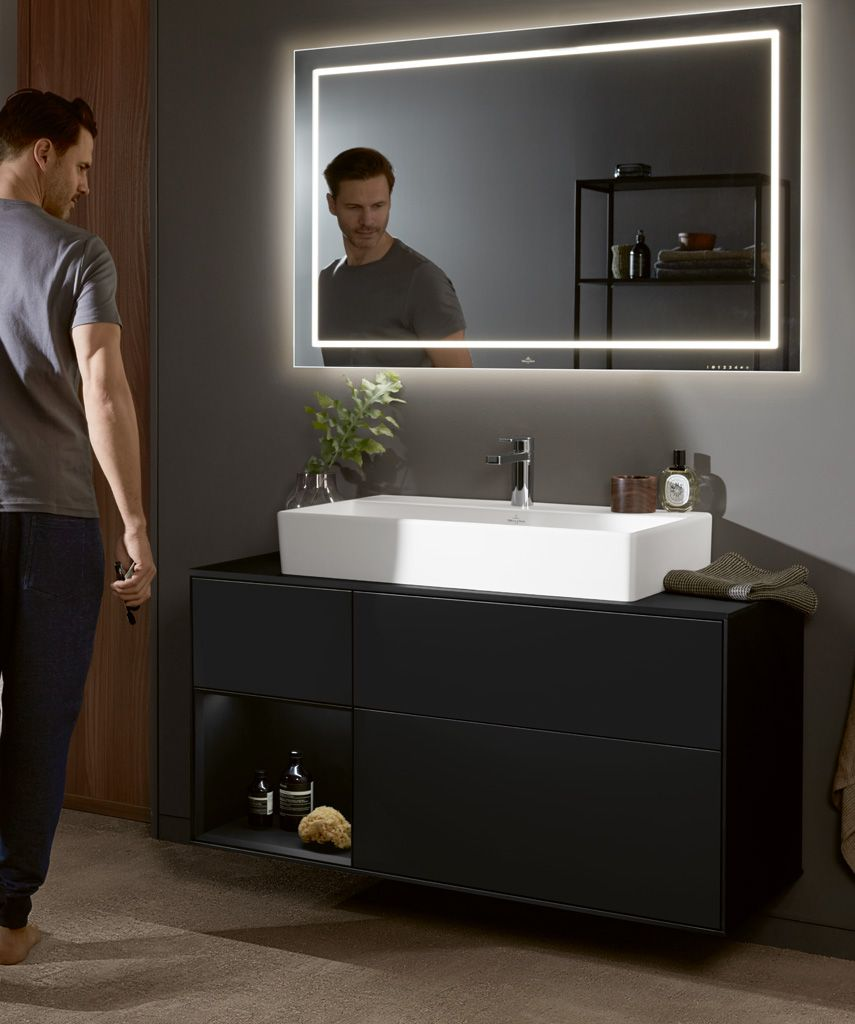 2019 Novelties From Villeroy Boch Memento 2 0 With Furniture Finion Black Matt Color Villeroyandbochfurniture Villeroydesign Bathroomd Badezimmer Baden Zimmer