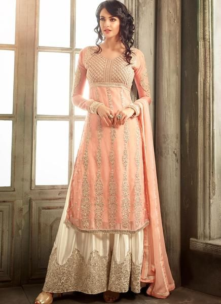 dcc85ad6dfb9 Peach Embroidered Palazzo Suit | Salwar Kameez | Pakistani dresses ...