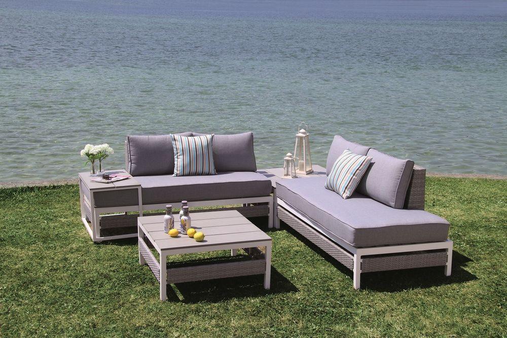 polyrattan lounge set woodrock garnitur sitzgruppe gartenmöbel alu, Garten Ideen