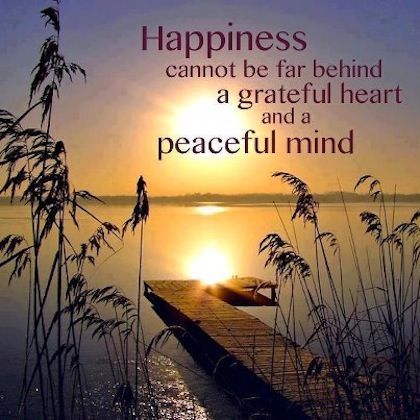 Happiness Cannot Be Far Behind A Grateful Heart And A Peaceful Mind Quote Gratitude Peace Happiness Peace Of Mind Quotes Gratitude Quotes Grateful Heart