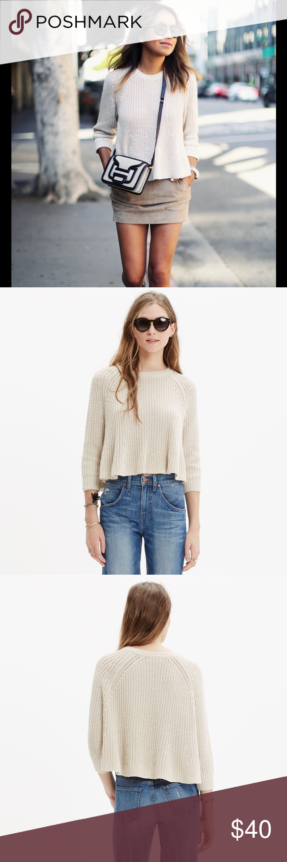 Madewell Tan Crop Swing Sweater SZ M | High rise jeans, Madewell ...