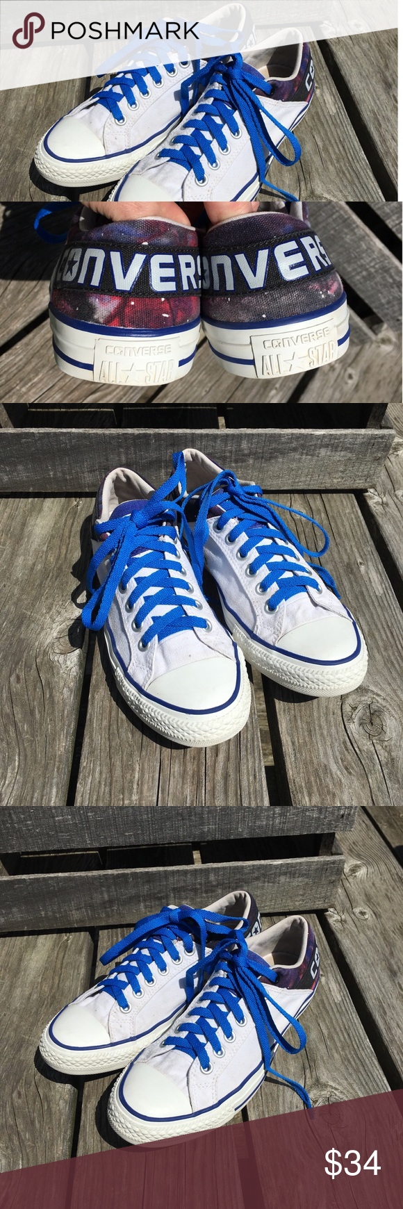 10644421bd9fb0 🆕List! Converse Galaxy-Back Sneakers! EUC! White with galaxy print at  heel ankle! New blue laces added - can be changed if desired.