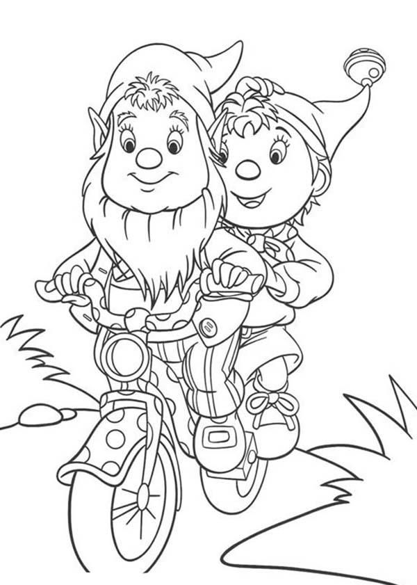 Noddy Riding Bike With Mr Big Ear Coloring Pages