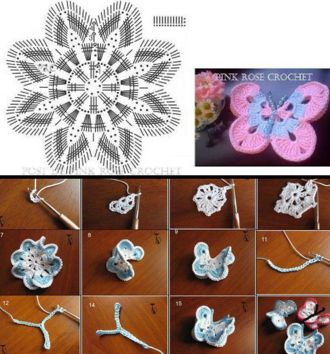 Tutorial y patron mariposa crochet | MINI-COSAS YUGAMA | Pinterest ...