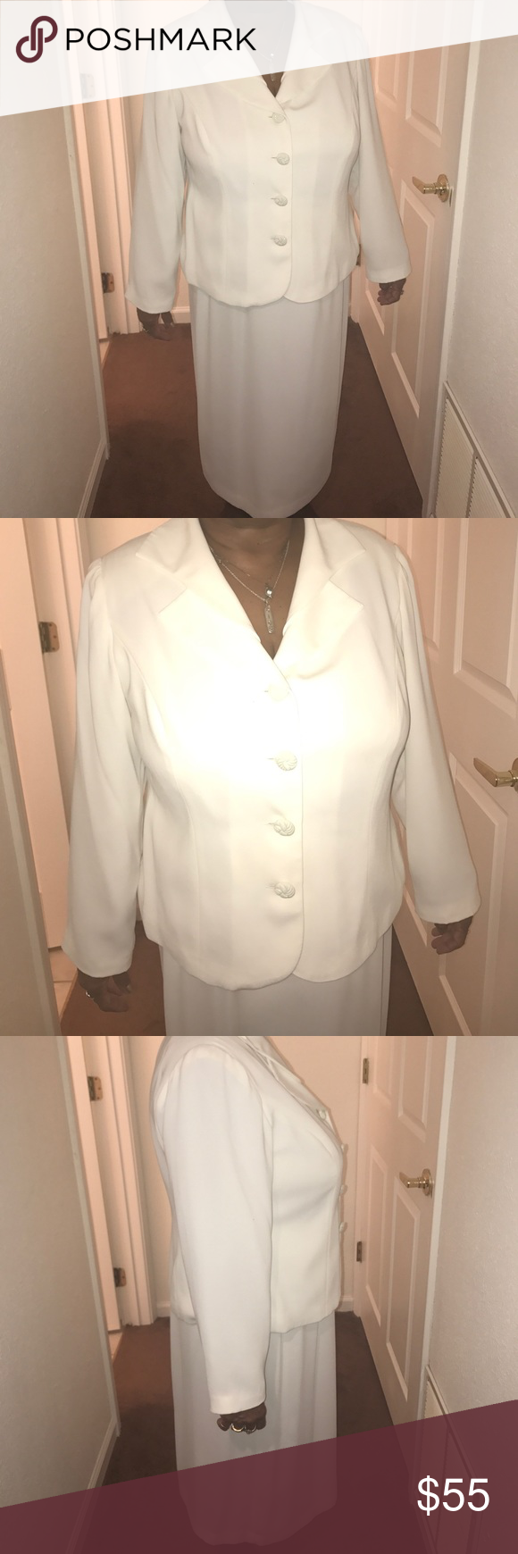 2-PIECE WOMENS SUIT🎉🎉 This is a ivory Dana Kay Suit with 4 buttons on the front, small split in back, skirt has elastic stretch with Zipper and button. This is a 16W Dresses