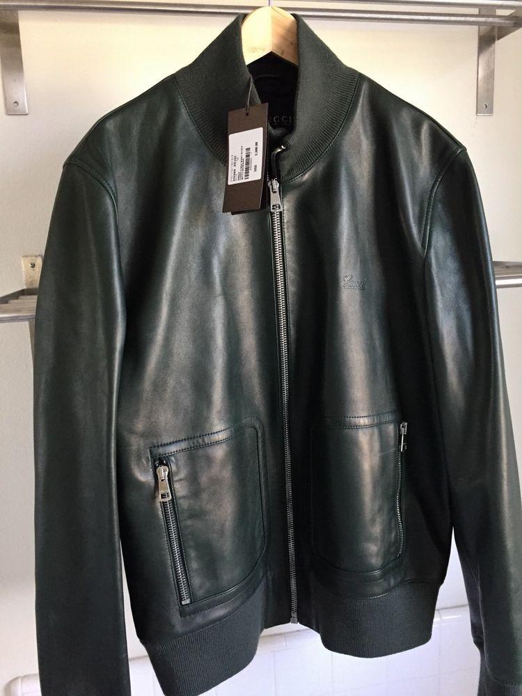 4d608deae Gucci Mens Dark Green Leather Bomber Jacket #Gucci #FlightBomber ...