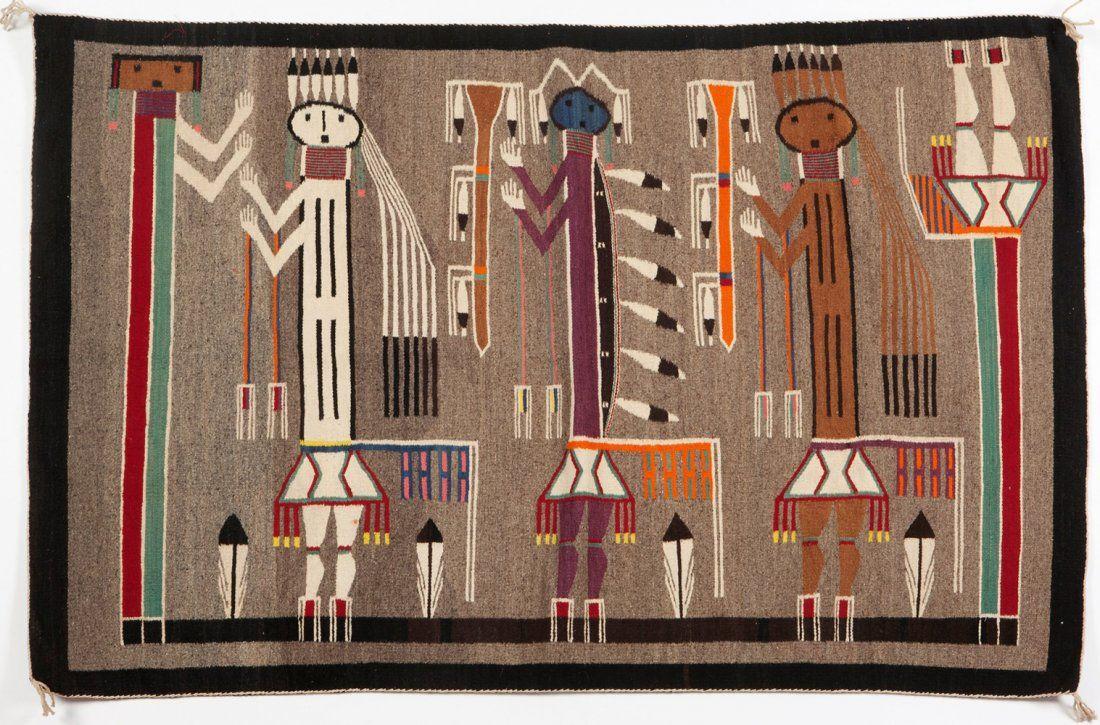 Vintage Navajo Yei Rug Arizona Ca
