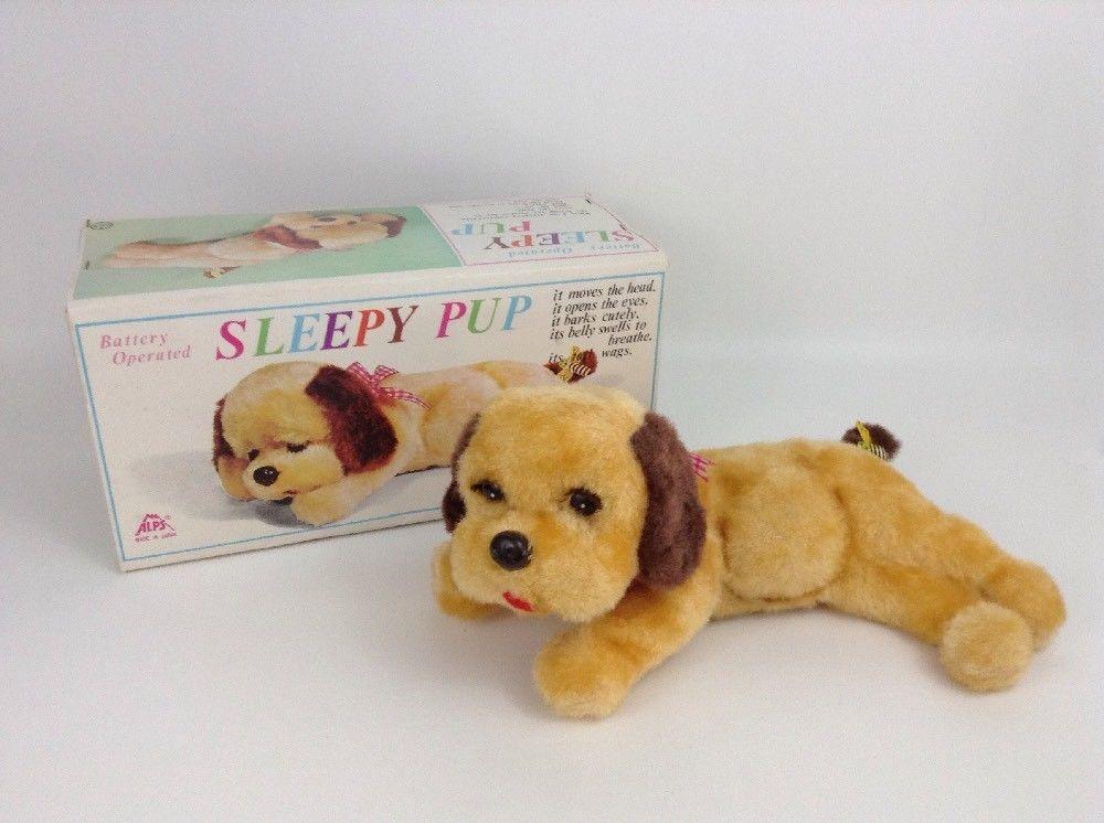 Vintage 1960 S Iwaya Rvt Toy Sleeping Pup Puppy Dog W Box Non