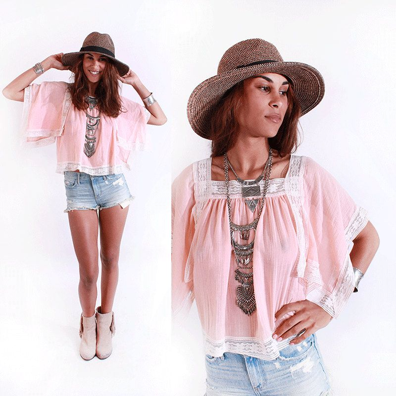 Vtg 70s Sheer Peach Gauze Sheer Lace Top Blouse Kimono Slvs Boho Hippie Gypsy S by VoodooVintage on Etsy