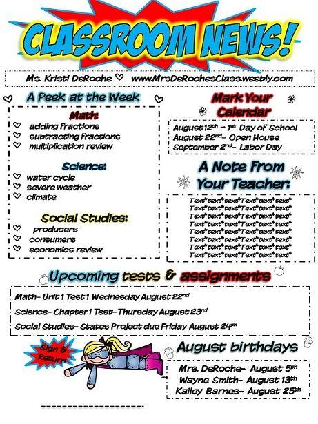 Classroom Newsletter- Superhero Themed- EDITABLE Classroom