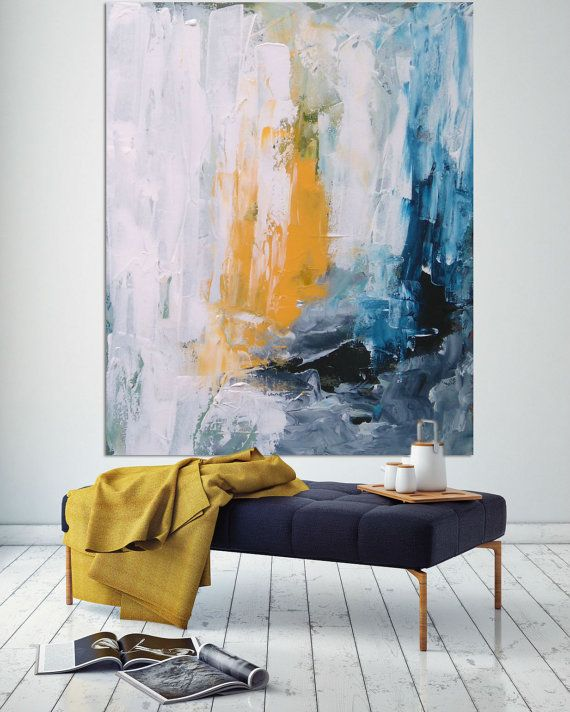 Original large abstract painting acrylic by - Interior painting ideas pinterest ...