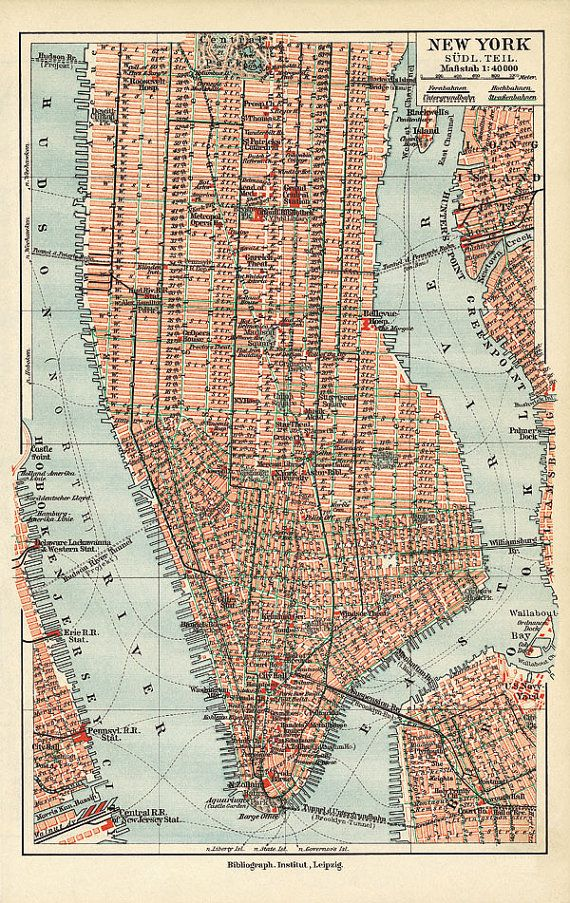 New York Manhattan Map Vintage New York Map Vintage Etsy Map Of New York Nyc Map Manhattan Map