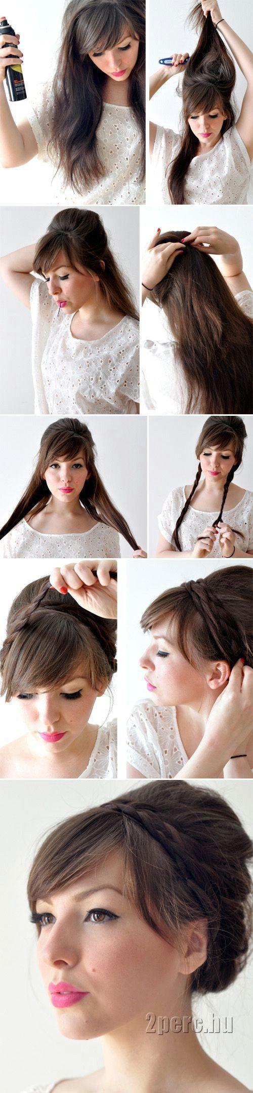 Braid bun cabello pinterest hair style hair makeup and makeup
