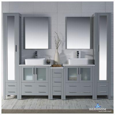 Blossom Sydney Bathroom Vanity Set In Metal Grey With Vessel - Bathroom vanity and linen cabinet set