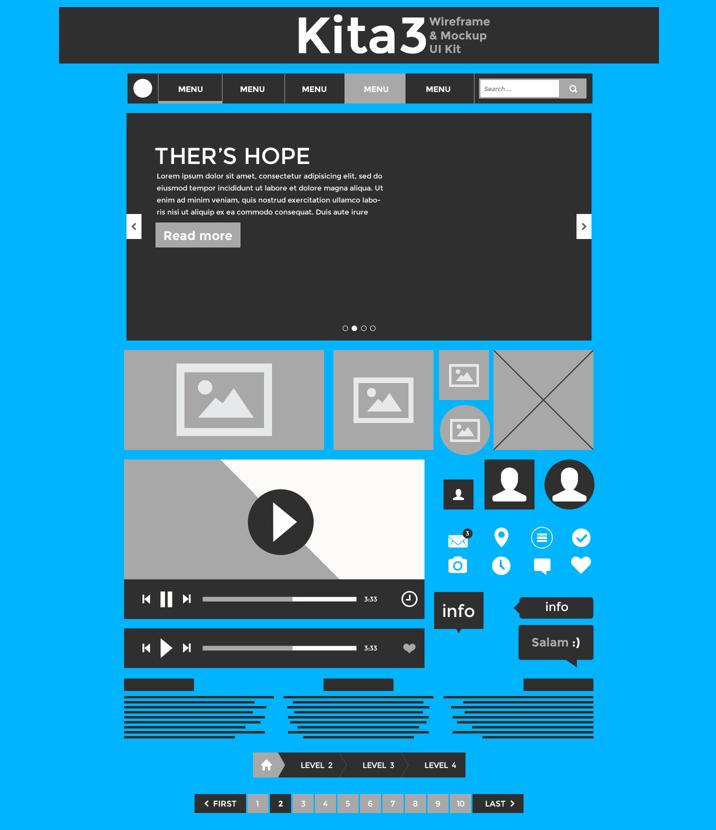Kita3: Wireframe & Mockup UI Kit, #Breadcrumb, #Buttons, #Calendar ...