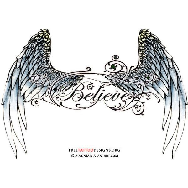 Angel Tattoos Found On Polyvore.. Instead Of Believe Use A
