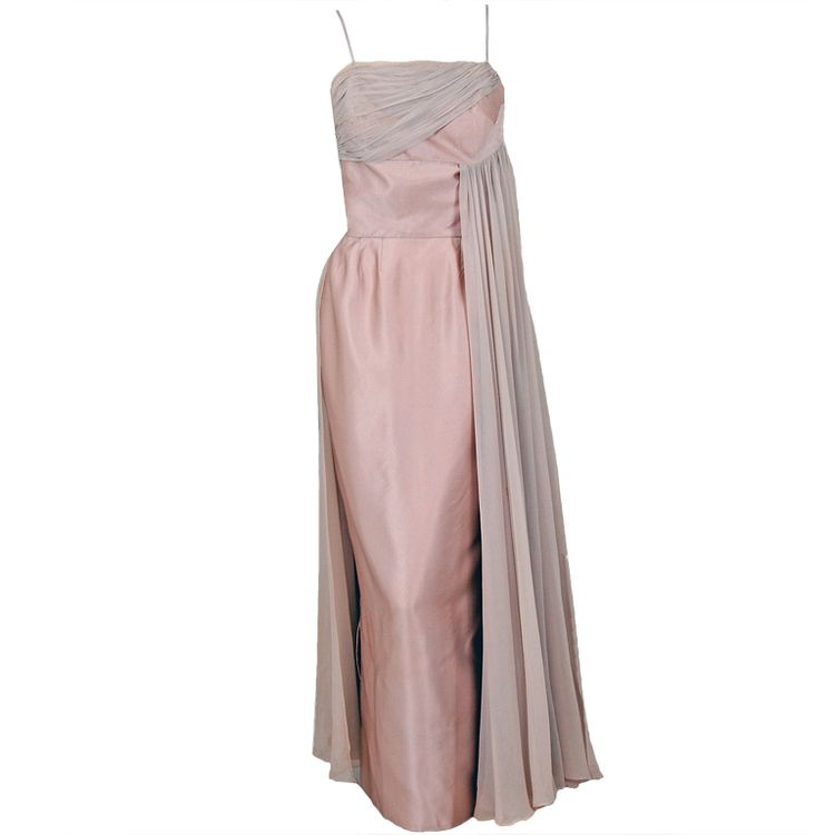 ddeb42dbfa7 1950 s Vintage Edward Abbott Champagne Silk-Chiffon   Satin Draped Gown  JUST LISTED on www.TimelessVixen.com