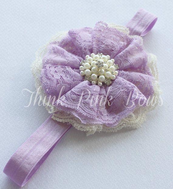 Baby Headband,Lace Headband, baby girl headband,Newborn Headband, shabby chic headband,Lavender Headband,Baby Bows, Hair Bows.