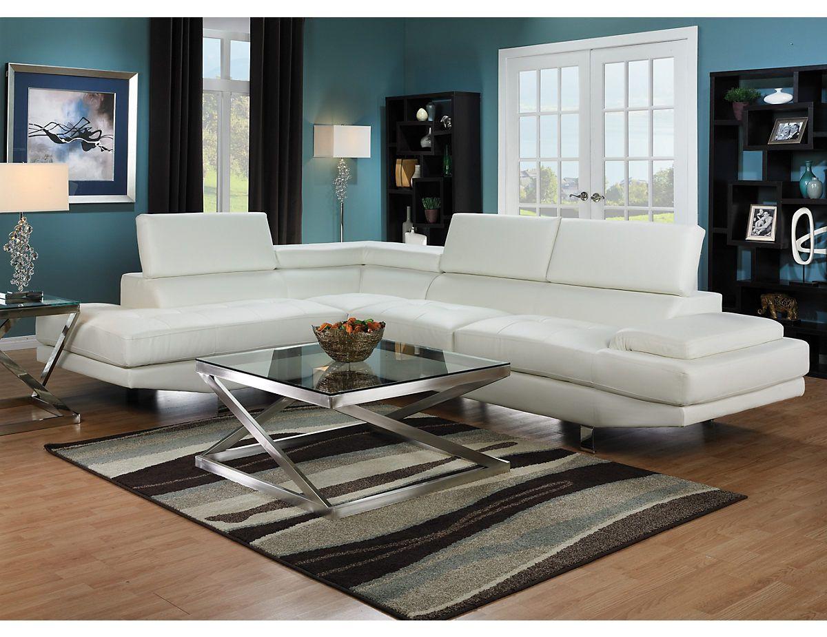 sofa sectionnel zane 2 pieces avec fauteuil long de gauche blanc zanewlsec 1100