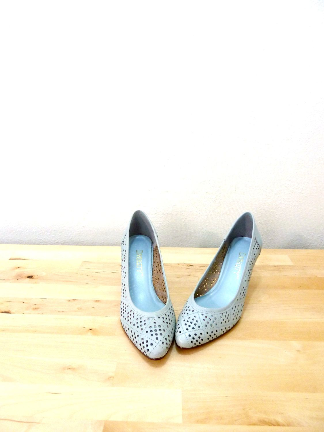 Vintage Light Blue Heels Cutout Pumps Kitten Leather Grey Something Bridal Shoes USD By VintageEdition
