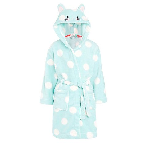 Buy John Lewis Girls Spotted Mouse Dressing Gown Aquawhite Online