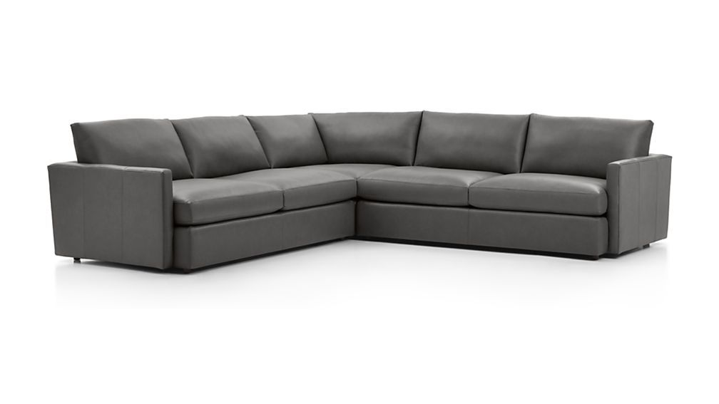Lounge Ii Three Piece Leather Sectional Sofa Crate And Barrel Leather Sectional Family Room Sectional 3 Piece Sectional Sofa