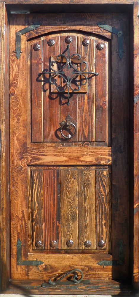 Rustic Solid Wood Door Reclaimed Lumber Wrought Iron