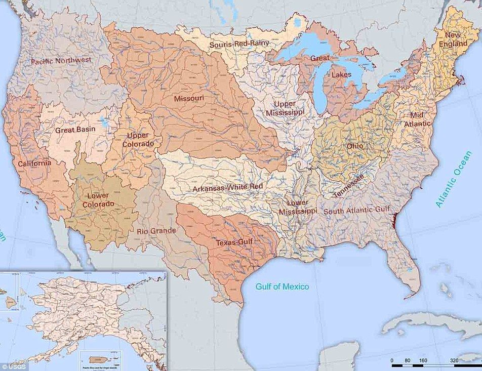 The veins of America: Stunning map shows every river basin in the US on